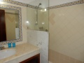 Salle de bain avec douche et toilettes.